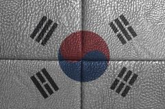 South Korea Flag on leather texture. Background close up stock photo