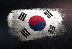 South Korea Flag Made of Metallic Brush Paint on Grunge Dark Wal. L stock images
