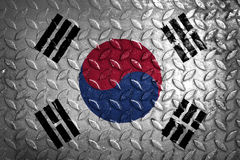 South Korea flag,metal texture on background.  royalty free stock photography