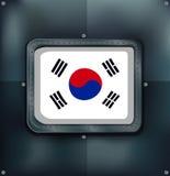 South Korea flag on metalic background Stock Photo
