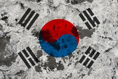 South korea flag on old wall royalty free illustration