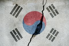 South Korea FLAG PAINTED ON CRACKED WALL cool. South Korea FLAG PAINTED ON CRACKED WALL royalty free stock photography