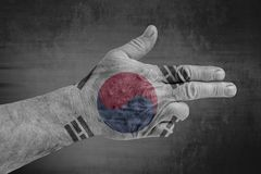 South Korea flag painted on male hand like a gun. Close royalty free stock photography