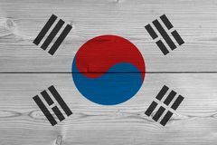 South korea flag painted on old wood plank royalty free stock image