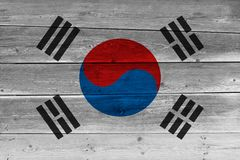 South korea flag painted on old wood plank. Patriotic background. National flag of South korea royalty free stock photography