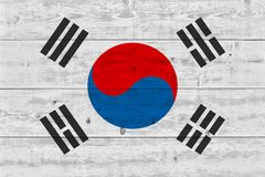 South korea flag painted on old wood plank royalty free stock images