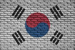 South Korea flag is painted onto an old brick wall royalty free stock image