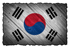 South Korea flag. Painted on wood texture tag. Isolated on white background stock photos