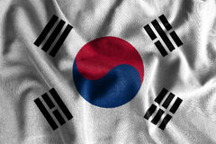 South korea flag painting on high detail of wave cotton fabrics . 3D illustration Royalty Free Stock Images