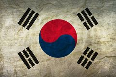 South Korea Flag on Paper. Flag on an old Paper Texture Stock Photography