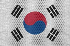 South Korea flag printed on a polyester nylon sportswear mesh fa. Bric with some folds vector illustration
