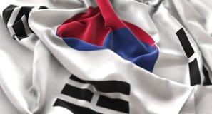 South Korea Flag Ruffled Beautifully Waving Macro Close-Up Shot. Studio royalty free stock photography