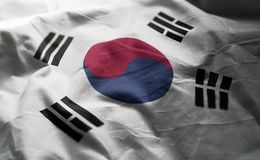 South Korea Flag Rumpled Close Up.  royalty free stock photography