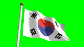 South Korea flag stock footage