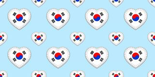 South Korea flag seamless pattern. Vector South Korean flags stickers. Love hearts symbols. Texture for language courses vector illustration