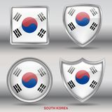 South Korea Flag in 4 shapes collection with clipping path Stock Images