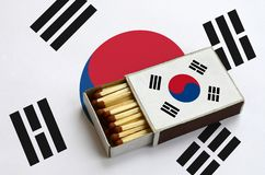 South Korea flag is shown in an open matchbox, which is filled with matches and lies on a large flag.  stock image