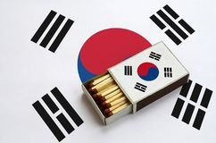 South Korea flag is shown in an open matchbox, which is filled with matches and lies on a large flag stock illustration