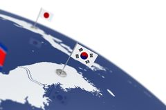 South Korea flag. Country flag with chrome flagpole on the world map with neighbors countries borders. 3d illustration rendering flag Stock Photo