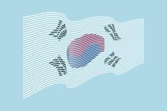 South Korea flag vector on blue background. Wave stripes flag, line illustration. South Korea flag vector on blue background. Wave stripes flag, line Royalty Free Stock Images