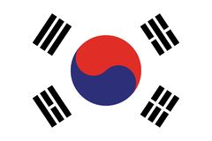 South Korea flag vector eps10. Flag of South korea. South Korea Flag Made with Official Korean National Colors. stock illustration
