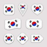 South Korea flag vector set. South Korean national flags stickers collection. Vector isolated geometric icons. Web, sports pages, stock illustration
