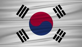 South Korea flag vector. Vector flag of South Korea blowig in the wind. EPS 10 Royalty Free Stock Photography