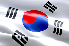 South korea flag waving texture fabric background, crisis of north and south korea, korean risk war Royalty Free Stock Images