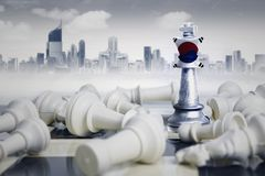 South Korea flag with white chess pieces Royalty Free Stock Images