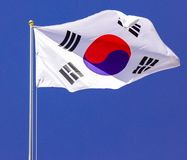 South Korea Flag in the wind. The Sudkorean Wind Flag, fixed on the high-rise stainless steel bar, to be gladly seen by visitors royalty free stock image