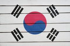 South korea flag on wood texture background.  royalty free stock photos