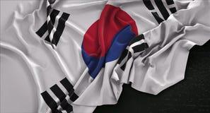 South Korea Flag Wrinkled On Dark Background 3D Render stock illustration