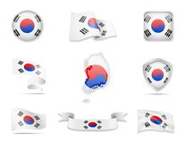 South Korea flags collection. Vector illustration set flags and outline of the country. South Korea flags collection. Flags and outline of the country vector stock illustration