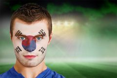 South korea football fan in face paint Stock Photography