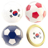 South Korea football team attributes isolated. South Korea football team set of four soccer ball attributes isolated on white Royalty Free Stock Image