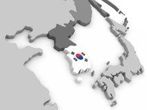 South Korea on globe with flag Stock Image