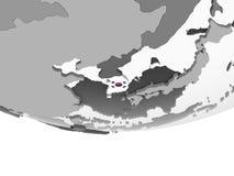 South Korea with flag on globe. South Korea on gray political globe with embedded flag. 3D illustration vector illustration