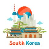 South Korea historical and modern architecture background design.  Royalty Free Stock Photography