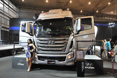 South Korea hyundai trago xcient truck. Road to China's West - 16th Chengdu Motor Show, August 31th-September 8th, 2013 Stock Photo
