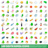 100 south korea icons set, isometric 3d style Stock Photo