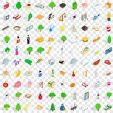 100 south korea icons set, isometric 3d style Stock Images