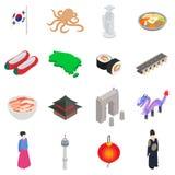 South Korea icons set, isometric 3d style Royalty Free Stock Photos