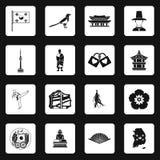 South Korea icons set, simple style Royalty Free Stock Photos