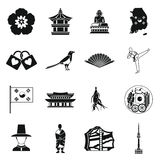 South Korea icons set, simple style Royalty Free Stock Images