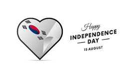 South Korea Independence Day. 15 august. Waving flag in heart. Vector. South Korea Independence Day. 15 august. Waving flag in heart. Vector illustration Stock Images