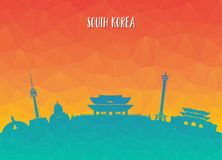 South Korea Landmark Global Travel And Journey paper background. Vector Design Template.used for your advertisement, book, banner, template, travel business or Royalty Free Stock Photo