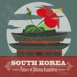 South Korea landmarks. Retro styled image royalty free illustration