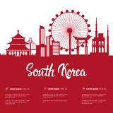 South Korea Landmarks Silhouette Seoul Famous Buildings City View With Monuments On White Background With Copy Space. Vector Illustration royalty free illustration