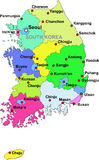 South Korea map. Color map of South Korea with regions on a white background vector illustration