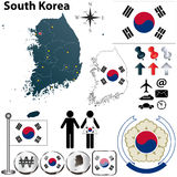 South Korea map. Vector of South Korea set with detailed country shape with region borders, flags and icons Royalty Free Stock Image
